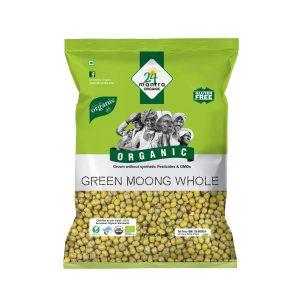 24 Mantra Organic Green Moong Whole: 500 gm