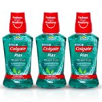 Colgate Plax Antibacterial Mouthwash, 10X longer cooling, 24/7 Fresh Breath, Removes 99% Germs – 3 x 250ml (Fresh Mint)