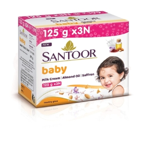 Santoor Baby Soap with Milk Cream, Saffron and Almond Oil, 125g (Pack of 3)